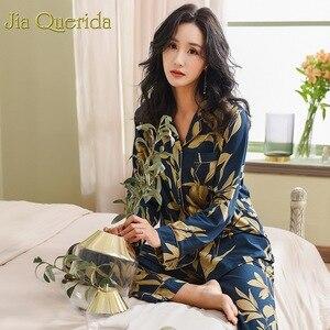 Image 3 - Spring Autumn Pajama Cotton Plush Lady Homewear Women Pyjamas Set Plus Size Floral Printing Women Pyjamas Navy Luxury Loungewear