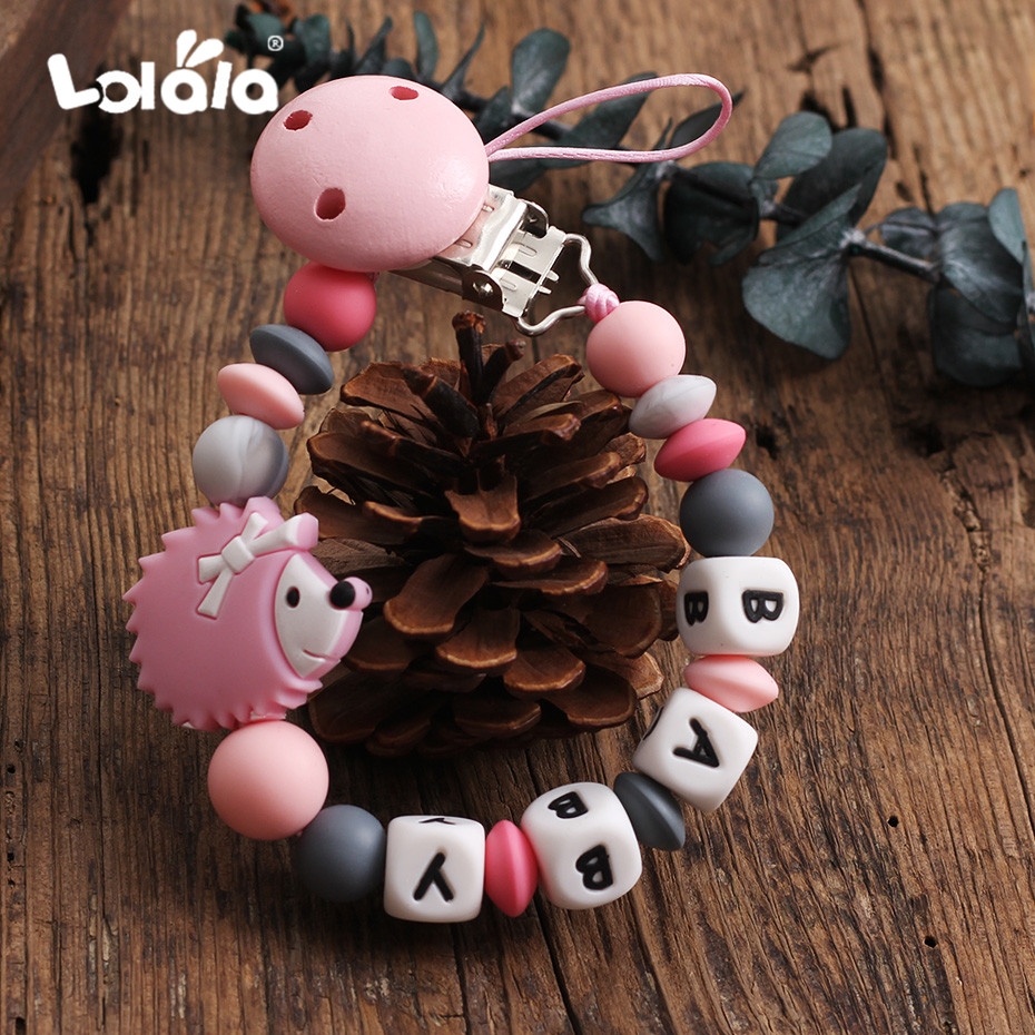 Baby Silica Pacifier Chain Lovely Hedgehog Safety Tooth Accessories DIY Baby Pacifier Clamp Handmade Personalized Name