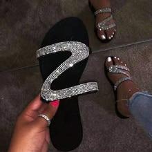 2020 Women Sandals Crystal bling Flat Sandals Flower Rhinest