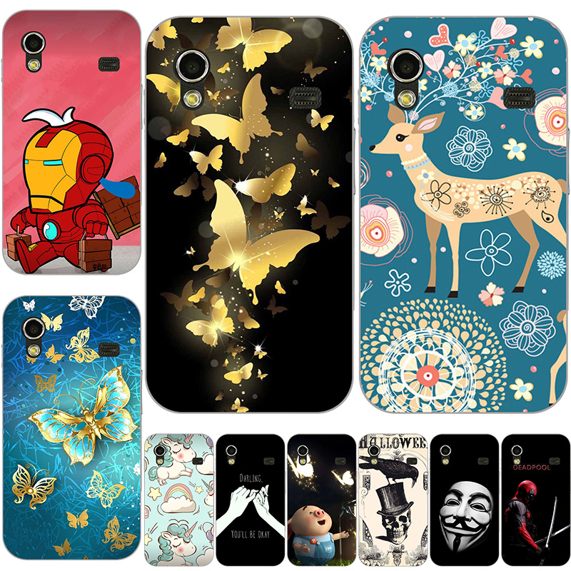 Fashion Soft Silicone <font><b>Case</b></font> For Samsung Galaxy Ace S5830i GT S5830 GT-S5830i <font><b>Case</b></font> Print Back Cover Cartoon Rose Patterned Shell image