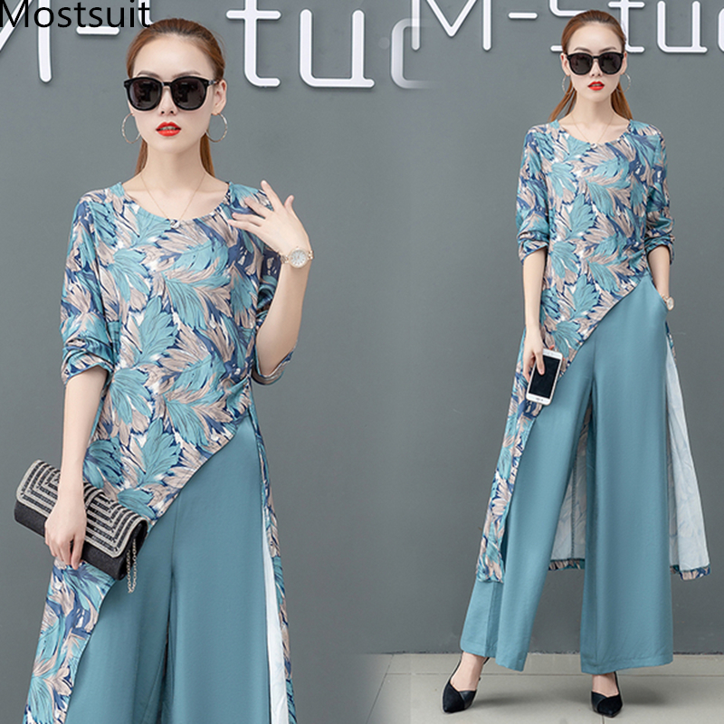 Printed Two Piece Sets Outfits Women Plus Size Splicing Long Tops And Wide Leg Pants Suits Elegant Office Fashion Korean Sets 39