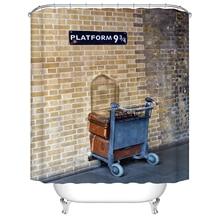 Cortina de ducha de baño de plataforma 9 y 3/4 con letras nórdicas de madera Vintage, cortina de baño impermeable Frabic