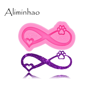 DY0397 Love ribbon bear's paw Keychains Mould Resin Silicone Epoxy Molds For Jewelry Shiny Glossy Aliminhao(China)