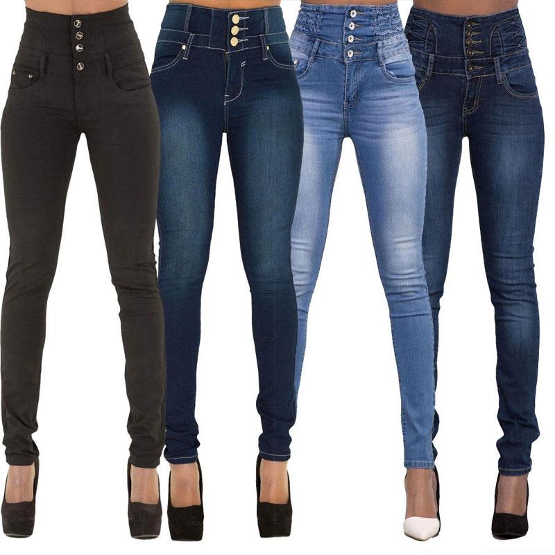 New Arrival Wholesale Woman Denim Pencil Pants Top Brand Stretch Jeans High Waist Pants Women High Waist Jeans