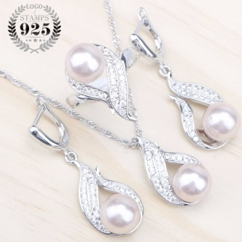 Natural Pearls 925 Silver Bridal Jewelry Sets Women White Zircon Earrings With Stones Pendant&Necklace/Rings Set Free Gift Box 925 sterling silver bridal pearls jewelry sets women wedding jewelry with pearl zircon clips earrings ring pendant necklace set