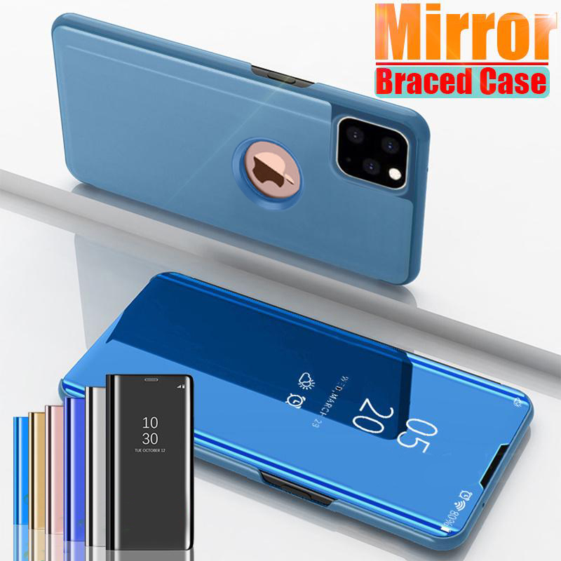 Luxury Mirror Flip Case For IPhone 11 Pro Max XR XS X Casing Leather Holder Stand Phone Cases For IPhone 8 7 6 6S Plus X Cover