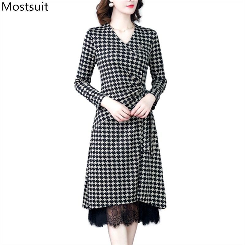Hot Discount #7c3ec - Autumn Houndstooth Dress For Women ...