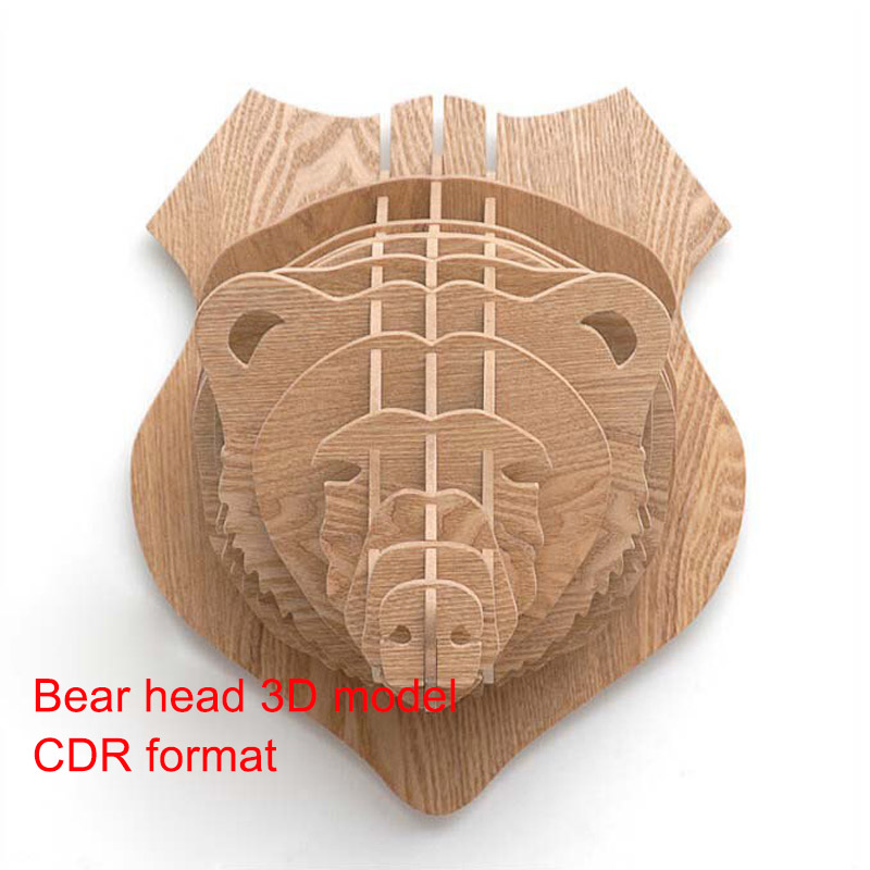 Bear Head New 3D Model CNC Laser Cutting File Cdr Format File Vector Design Drawing