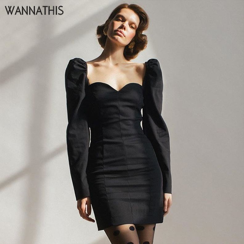 WannaThis Sexy Lady Party Dresses V-Neck Puff Sleeve Long Slim Black Autumn Winter 2019 Skinny Fashion Mini