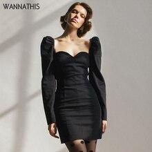 WannaThis Sexy Lady Party Dresses V-Neck Puff Sleeve Long Slim Black Autumn Winter 2019 Skinny Fashion Mini