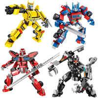 Coche de bloques de construcción con Robot de transformación 1-change-3, vehículo de deformación de camiones, juguete para niños con helicóptero de ladrillo