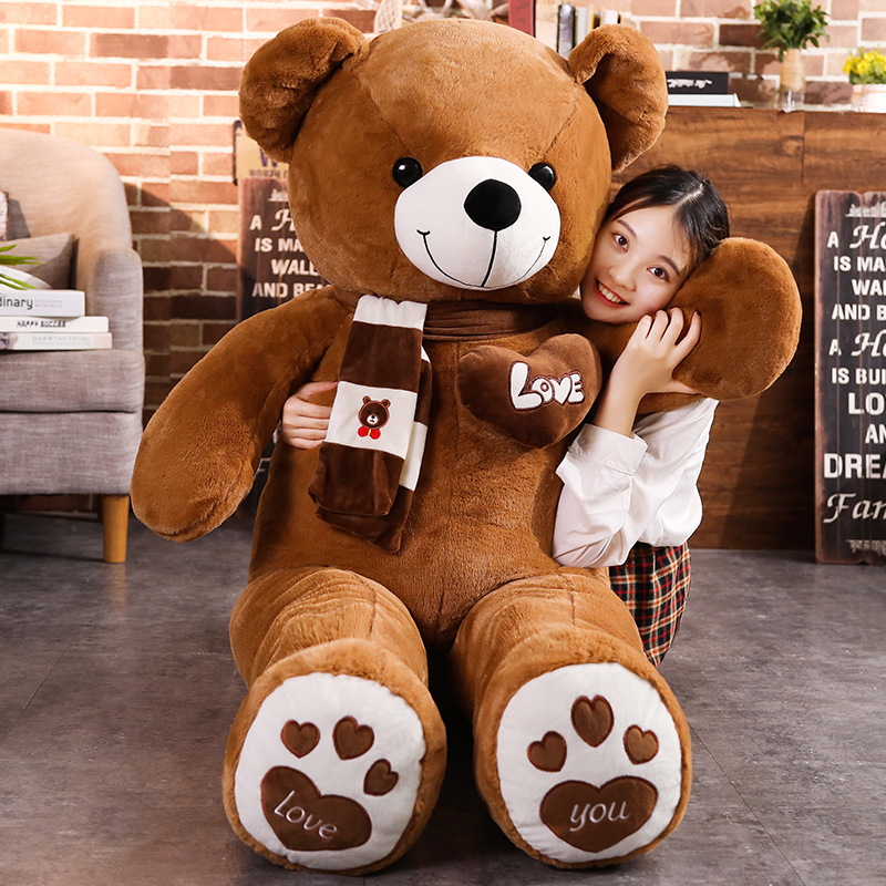 Teddy Bear With Scarf Stuffed Animals Filled Full Large Bear Plush Toys Doll Pillow New 4 Colors Kids Lovers Birthday Baby Gifts