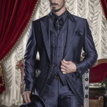Tuxedos Prom-Suits Embroidery Bridegroom Wedding Black Pants Vest Jacket Silver Men's