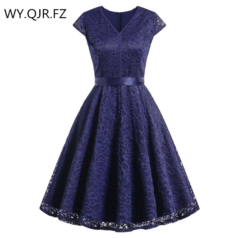 OML523#V-neck Lace Wine Red Short Bridesmaid Dresses Weddiong Party Dress 2019 Prom Gown Women's Fashion Wholesale Clothing Girl