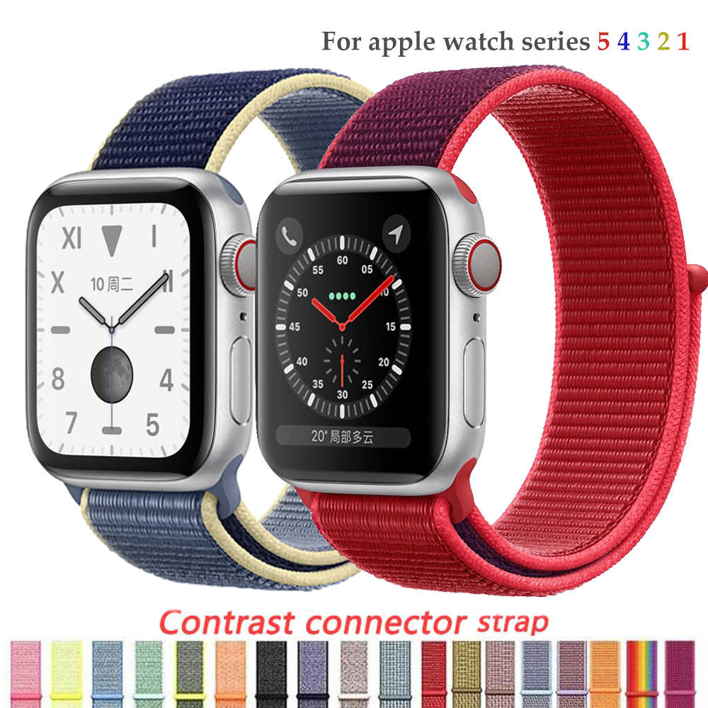 Tali Nilon untuk Apple Watch Band 4/5 44 Mm/40 Mm Correa Apple Watch 3 42 Mm/38 Mm IWatch Seri 5/4/3/2 Warna-warni Konektor Gelang Jam