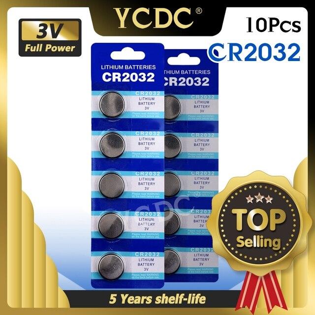 10 Cái/lốc CR2032 3V Lithium Pin Cho Đồng Hồ Điều Khiển Từ Xa Máy Tính CR2032 2032 5004LC ECR2032 Tế Bào Nút Đồng Xu Pin