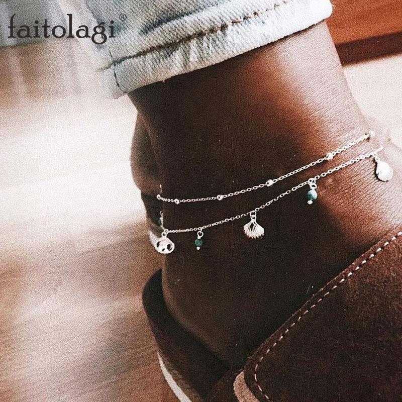 2Pcs/Set Shell Bead Ankle Bracelet Chains For Women Boho Foot Jewellery Summer Barefoot Sandals Jewelry Leg Bracelet