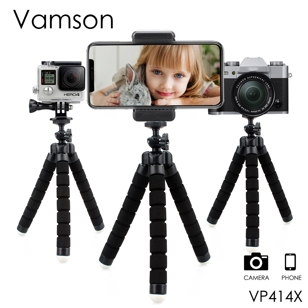 Go Pro Accessories Flexible Leg Mini Tripod With Screw Mount Adapter  For GoPro Hero 4 3+ 2 1 Xiaomi yi SJCAM Camera VP414