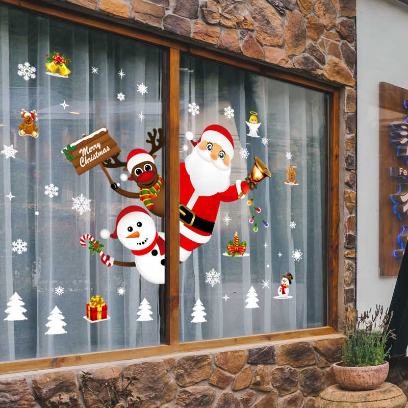 Christmas Xmas Santa Removable Window Stickers Art Decal Wall Home Shop Decor .W