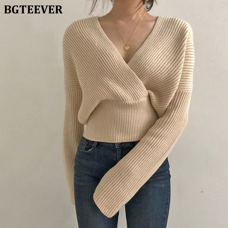BGTEEVER Sexy V-neck Cross Women Knitted Sweater 2020 Spring Loose Warm Female Pullovers Jumpers Slim Waist Knit Tops Femme