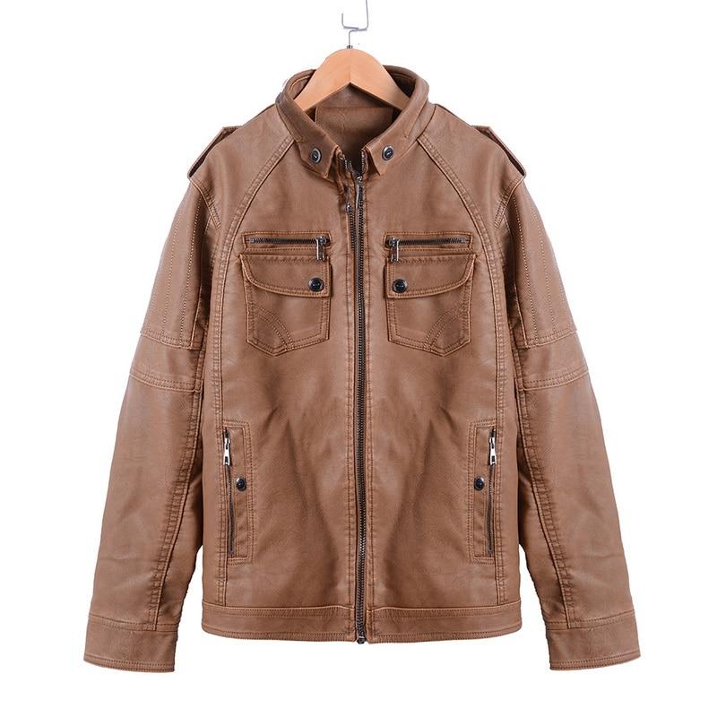 H9fe8920de6cf4ed58e26364d09a6bdbe6 Luxury 2019 Leather Jackets Men Autumn Fleece Zipper Chaqueta Cuero Hombre Pockets Moto Jaqueta Masculino Couro Slim Warm Coat