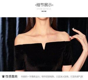 Image 5 - 2019 novo banquete elegante preto sexy seção longa palavra ombro magro emagrecimento vestido de festa fora do ombro retalhos
