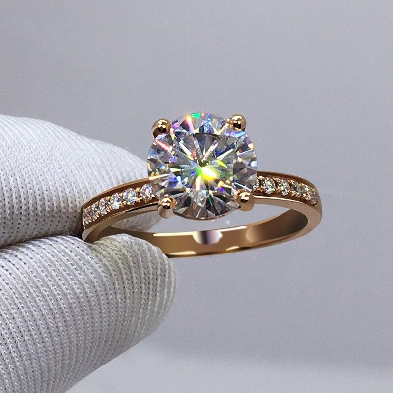 Bague en or Rose 14K 4 griffes Moissanite bijoux VVS1 rond taille brillant 1ct 2ct 3ct bague d'anniversaire de fiançailles