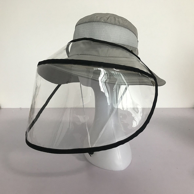 Transparent Adults Unisex Anti-spitting Hat Dustproof Cover Cap Bucket Hat Virus Protection Caps Face Mask For Flu Fisherman Cap 4