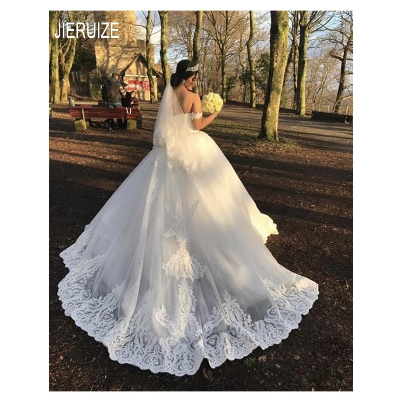 JIERUIZ White Long Princess Wedding Dresses Off Shoulder Lace Appliques Gall Gown Wedding Gowns Vestido De Noiva Bridal Dresses