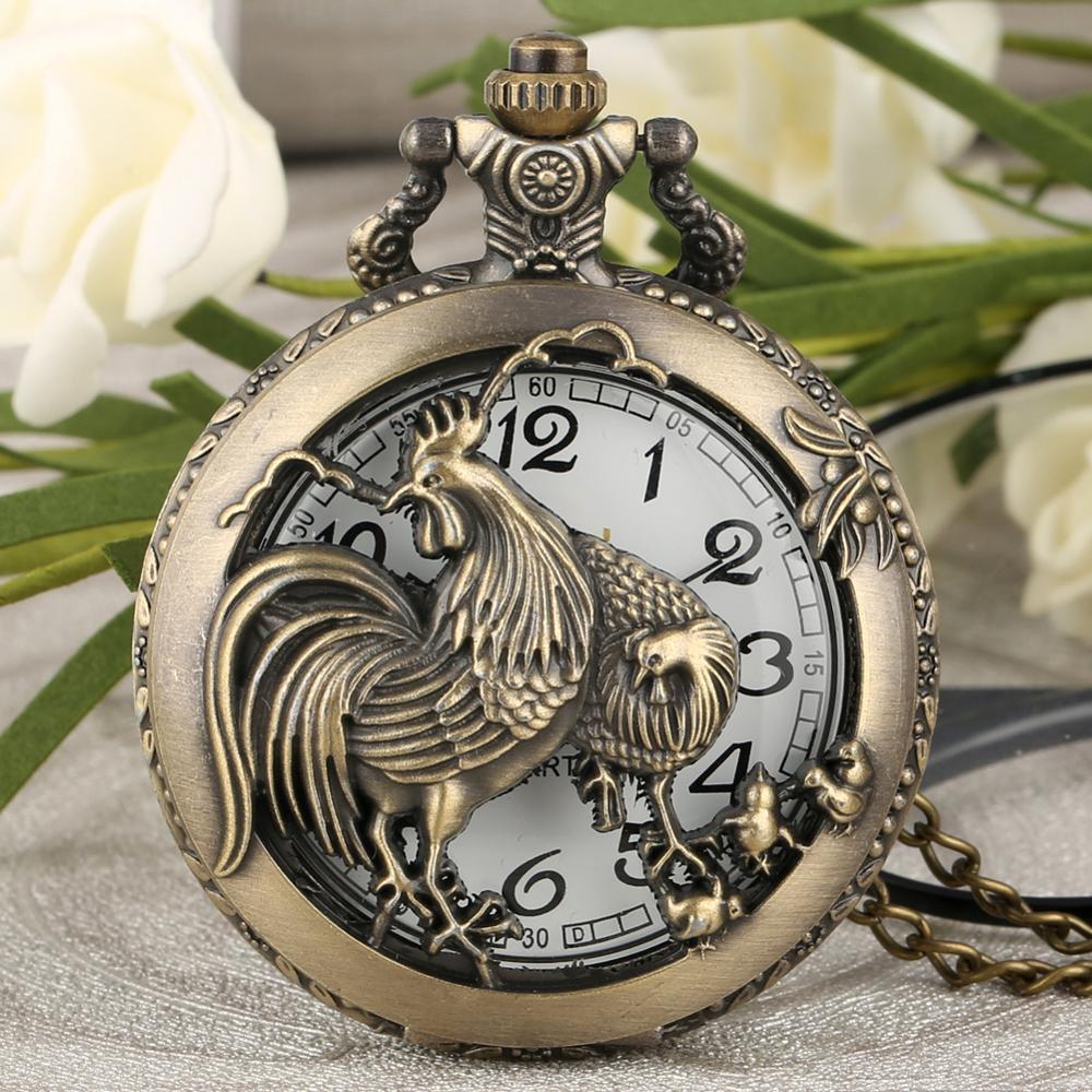 Vintage Watches Hollow Rooster Design Chinese Zodiac Style Retro Bronze Half Hunter Quartz Pocket Watch Pendant Man Women Gifts
