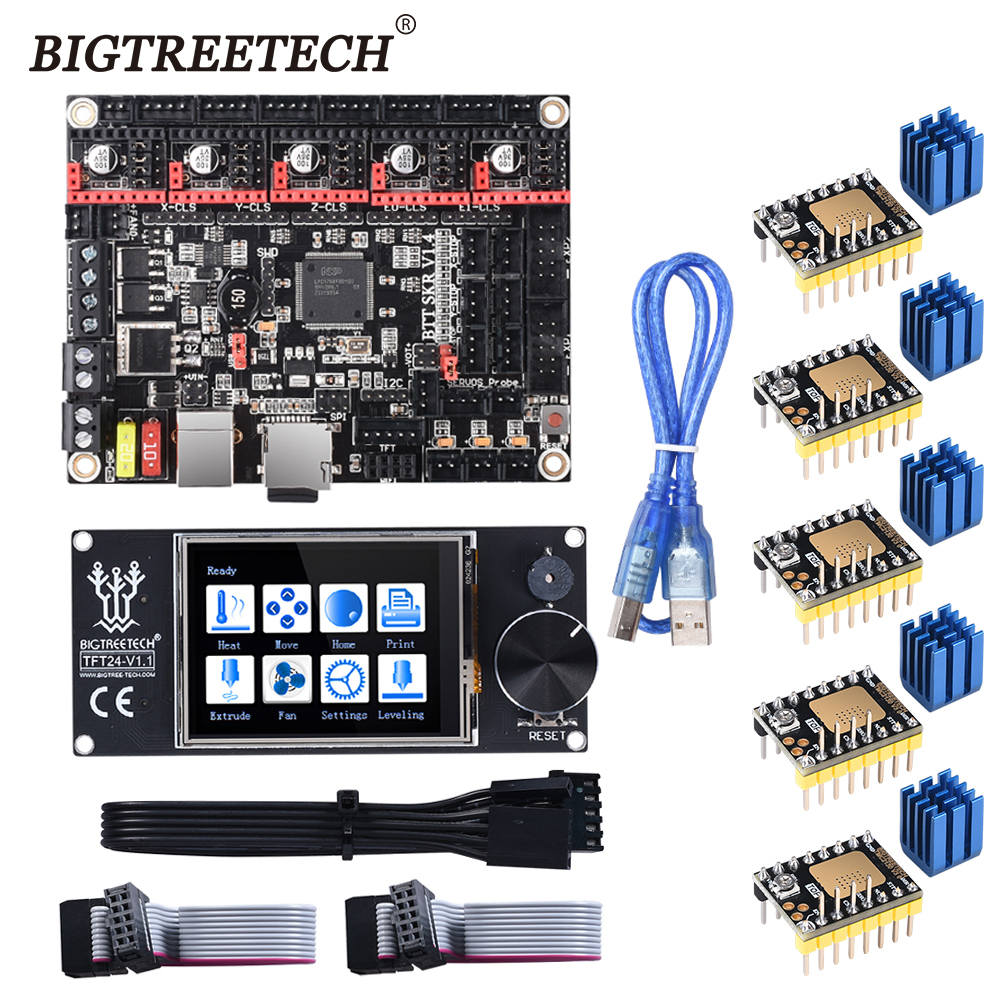 BIGTREETECH BTT SKR V1.4 SKR V1.4 Turbo 32 Bit Motherboard TFT24 V1.1 Touch Screen Upgrade SKR V1.3 TMC2209 Stepper Motor Driver
