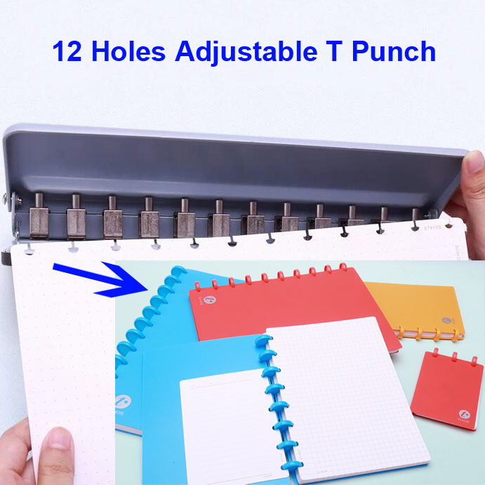 12 Holes Puncher T Mushroom Paper Cutter Loose-Leaf A4 A5 B5 Hole Punch School Office Binding Stationery perforadora de papel