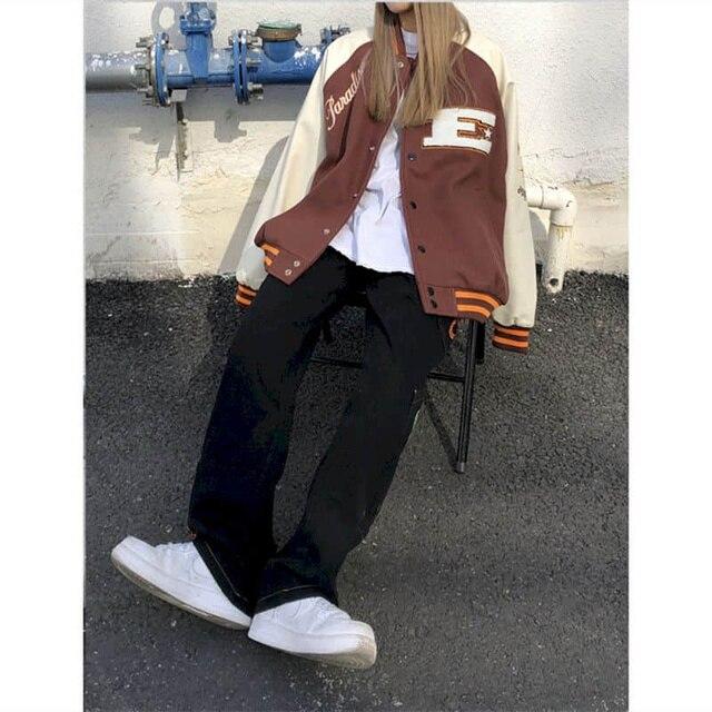 2021SS Bomber Woman Jacket Hip Hop Furry Bone Patchwork Color Block Jackets Mens Harajuku Streetwear Men Baseball Coats Unisex 3