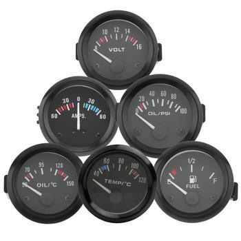 2 52MM 12V Universal  Car Water Temperature Meter Water Temp Gauge Voltmeter Ammeter Oil Pressure Fuel Level Volt Meter
