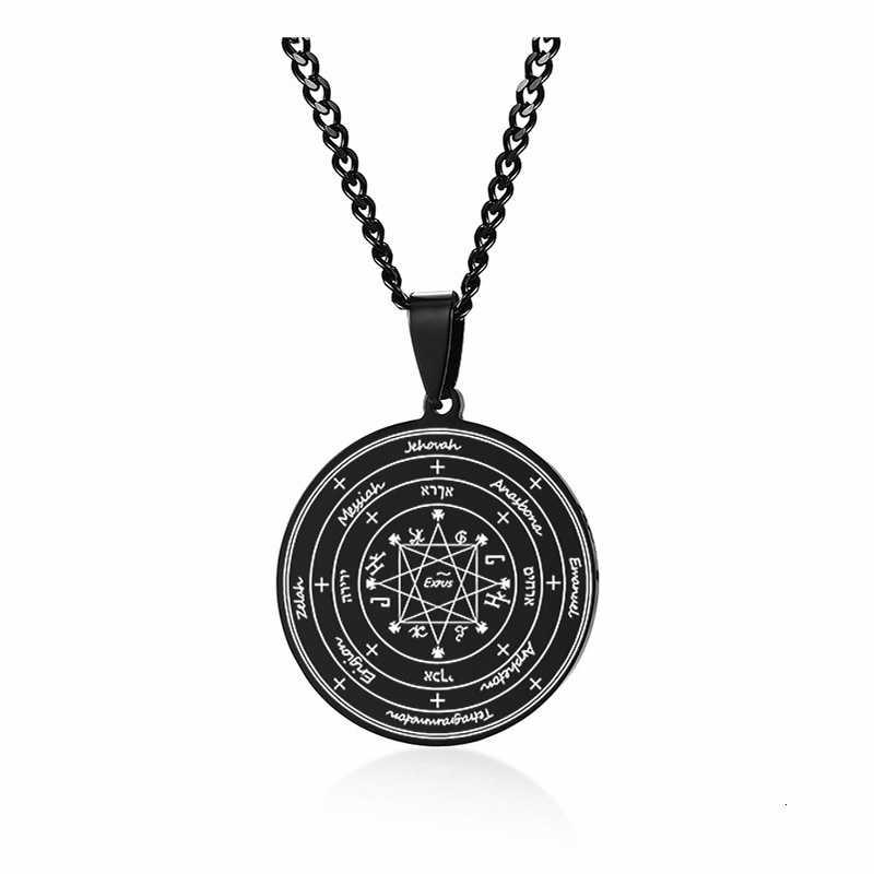 Różne STYLE mężczyźni naszyjnik tajna pieczęć salomona moc ochrony talizman czarna magia stal stalowy wisiorek
