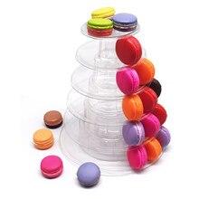 Kunststoff 6 Tiers Macaron Turm Kuchen Stehen Cupcake Macaroons Display Rack Halter Weihnachten Urlaub Partei Dekoration Bäckerei Riser