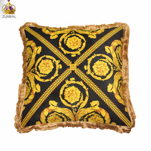 high end quality velvet europe classical luxury royal palace black gold printed decorative sofa throw pillow case cushion cover