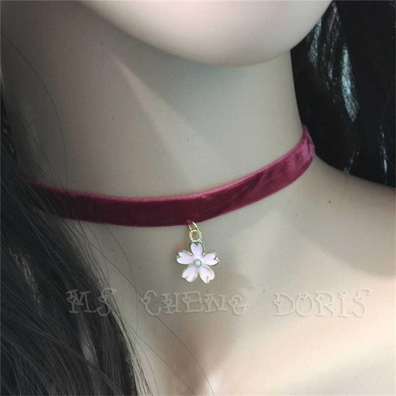 Mode Torques Bijoux couleur Pure velours cuir fleurs de cerisier pendentif Maxi déclaration Chokers collier pour femmes Bijoux