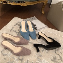 цены Fashion Women Square Toe Slippers Sexy High Heel Brand Slides Slip On Mule Shoes Women Outdoor Flip Flops Shoes zapatos de mujer