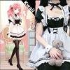 QWEEK Kawaii Maid Dress Lolita Maid Outfit Cute French Maid Cosplay Costumes Uniform Japanese Puff Sleeve Bandage Dress Waitress 2