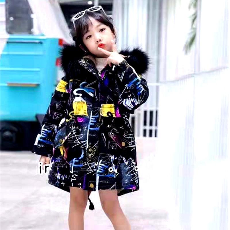 Winter Boys Girls Thick Warm Fluffy Coat Real Fur Collar Kid Parkas Jacket Children Clothes