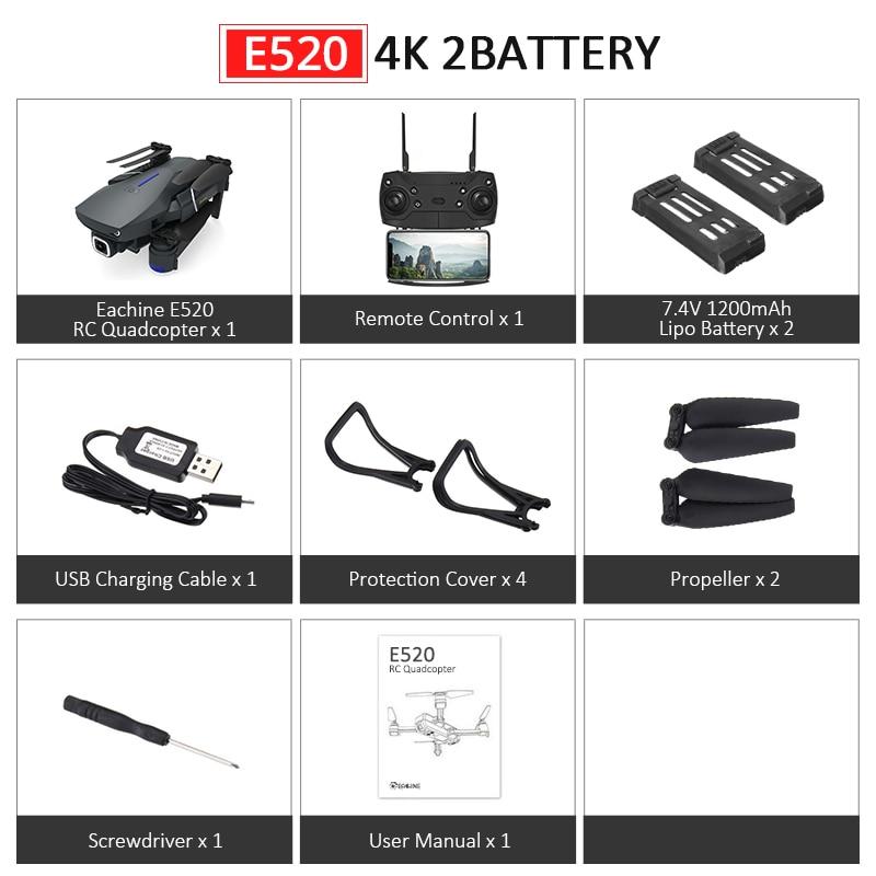 Eachine E520S E520 gps FOLLOW ME wifi FPV Квадрокоптер с 4 K/1080 P HD широкоугольная камера Складная Высота удержания прочный Радиоуправляемый Дрон - Цвет: E520 4K 2Batteries