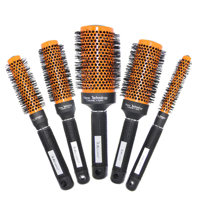 Hairdresser Round Brush Hair Salon Blow Dry Hair Ceramic Brush High Temperature Resistant Ionic Round Brush Comb For 5 Sizes