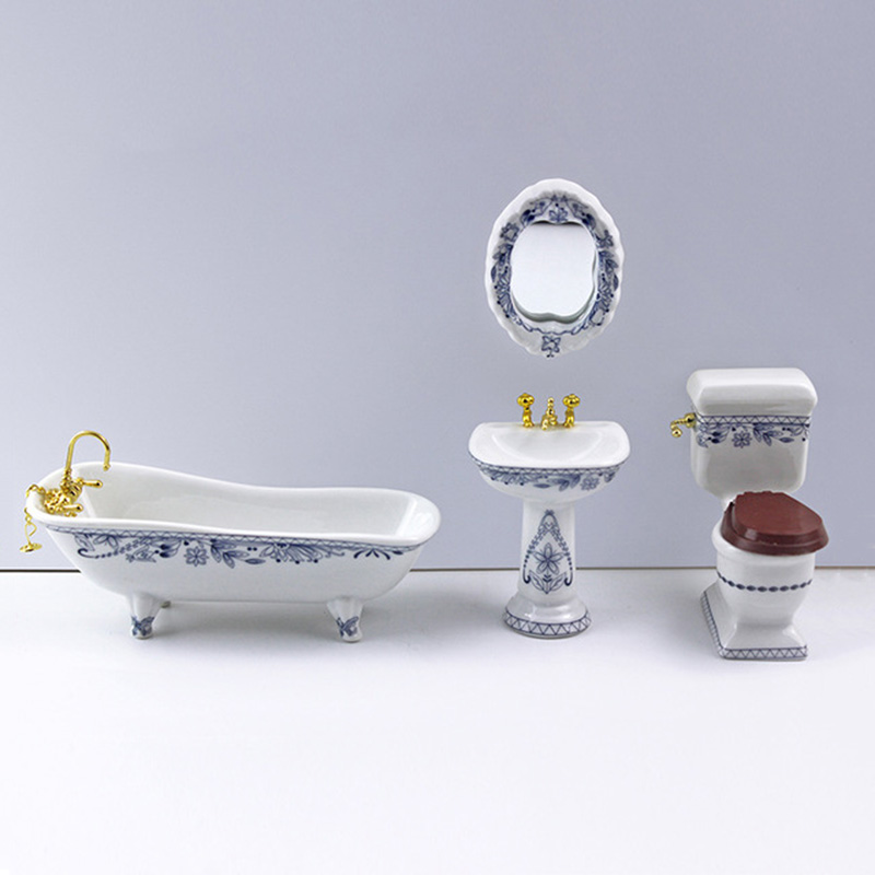 1/12 Dollhouse Miniature Accessories Mini Bathroom Set Simulation Bathtub Mirror Wash Basin Closestool For Doll House Decoration