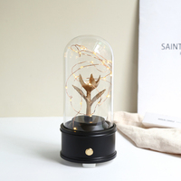 Creative Bluetooth Music Box Audio with Lamp Glass Cover DIY Crafts Home Bedroom Wedding Decoration Birthday Valentine's Day Gif