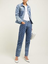 2020 Frühling Sommer frauen Gedruckt Mond Muster Dünne Panel Crescent Logo Ankle-länge Jeans Hosen