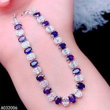 KJJEAXCMY fine jewelry 925 sterling silver inlaid natural sapphire bracelet delicate female popular bracelet support testing luxurious natural sri lanka sapphire bracelet 2 ct natural blue sapphire gemstone bracelet solid 925 sterling silver bracelet