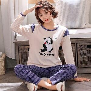 Image 4 - Neue Frühling Herbst Paar Pyjamas Set Plus Größe M 4XL Langarm Baumwolle Pyjama Niedlichen Cartoon Pyjama Für Männer Und Frauen