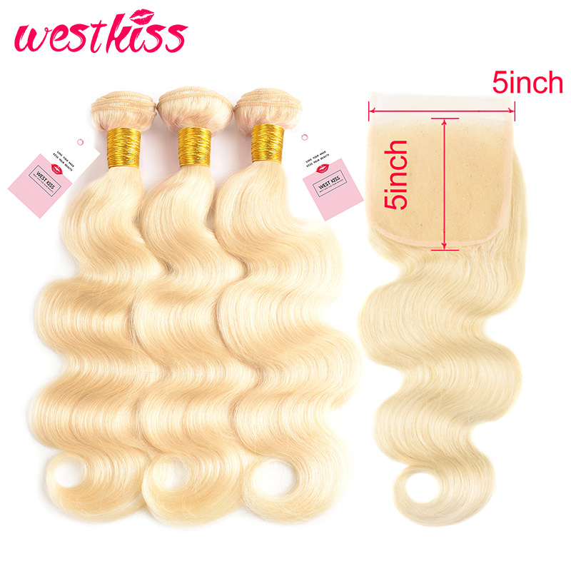 Transparent <font><b>5x5</b></font> <font><b>Lace</b></font> <font><b>Closure</b></font> With Bundles <font><b>613</b></font> Blonde Body Wave Brazilian Human Hair Bundles With <font><b>Lace</b></font> Pre Plucked West Kiss Remy image