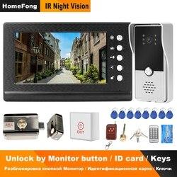 Homefong проводной видео телефон двери с замком видеодомофон для квартиры дома электрический замок система контроля доступа 3A контроль мощнос...